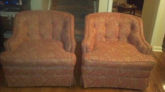 pair proper cocktail chairs, $250