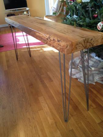 Bon Spotted: Raw Wood Console Table With Hairpin Legs $385